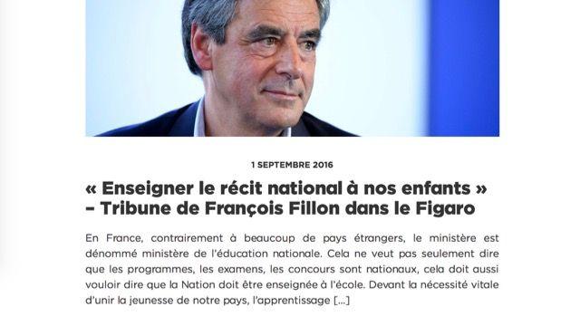 programme éducatif de François Fillon